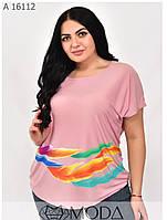Легкая женская летняя футболка размеры 48-56, фото 1