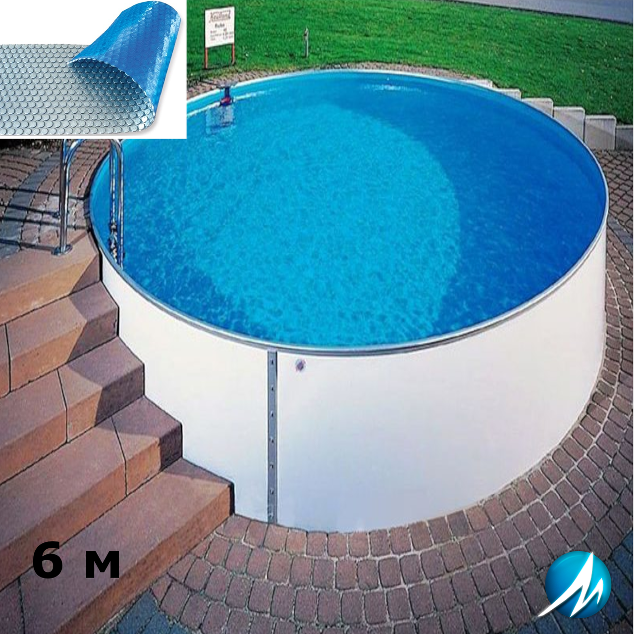 Солярное накрытие для сборного круглого бассейна 6 м
