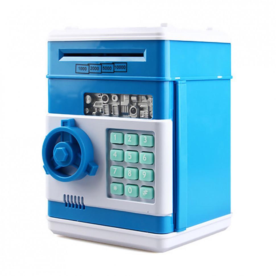 Электронная копилка-сейф с кодом MK 4524 с купюроприемником Голубой