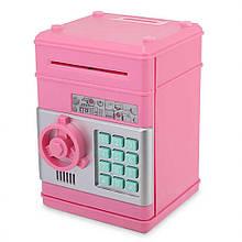 Дитяча скарбничка-сейф з кодом MK 4524 з купюропріємником (Pink)