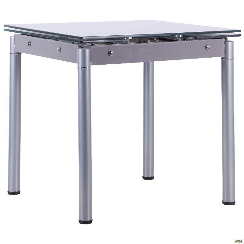 Стол Челси 750(1200)*700*760 База серый/стекло платина