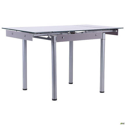 Стол Челси 750(1200)*700*760 База серый/стекло платина, фото 2