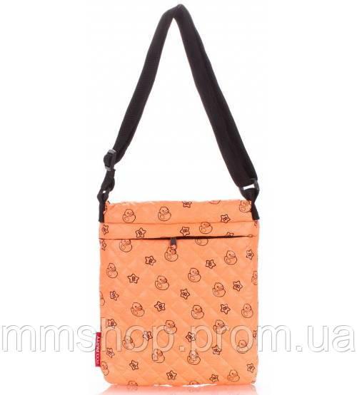 Сумка-планшет женская стёганая POOLPARTY с уточками оранжевая, фото 1