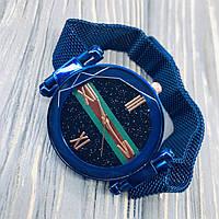 Жіночі наручні годинники Sky Watch сині, кварц, ремінець магнітний 16х220мм, скло гартоване ударостійке,