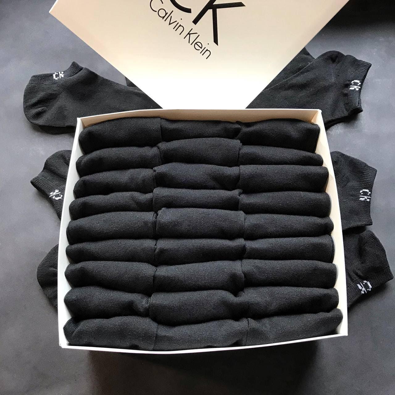 Набор мужских носков, укороченные Calvin Klein реплика (30 пар черных) в фирменной коробочке!