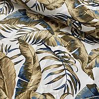 Ткань декоративная с золотыми листьями на белом с тефлоновой пропиткой, ш. 180 см