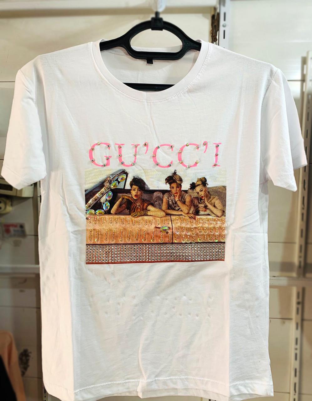 Стильная женская футболка с рисунком 42-46 (в расцветках)