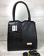 Классическая женская сумка Aliri-317-14 черного цвета с вставкой кожа крокодила