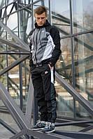 Спортивный мужской костюм Nike Heritage Черно-серый (Ветровка и штаны)