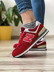 Кросівки жіночі 18522, New Balance 574, червоні, [ 37 38 39 40 ] р. 37-23,5 див.