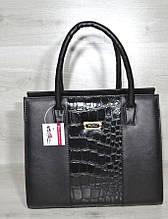 Женская сумка Aliri-316-10 черная с вставкой кожа крокодила