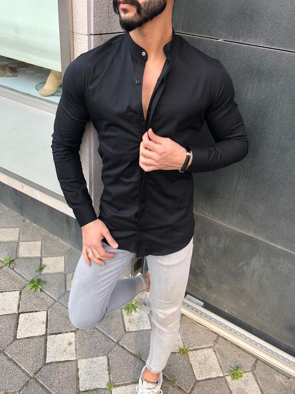 Рубашка однотонная без ворота