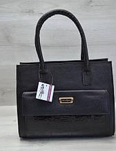 Каркасная женская сумка Aliri-310-05 черная с накладным карманом