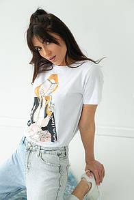 Женская стильная футболка с принтом в белом цвете