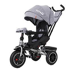 Велосипед трехколесный TILLY CAYMAN с пультом и усиленной рамой T-381/7 Серый лен / 1 /