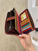 Жіночий шкіряний гаманець на блискавці Trend червоний КТ55, фото 2