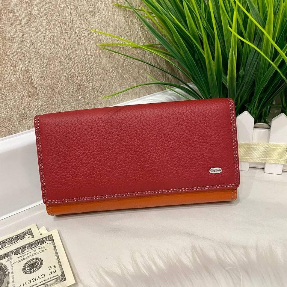 Женский кожаный кошелёк Dr. Bond Business с визитницей красный КБВ852
