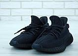 Чоловічі кросівки Adidas Yeezy Boost 350 в стилі адідас ізі буст РЕФЛЕКТИВ ШНУРКИ ЧОРНІ (Репліка ААА+), фото 4