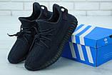 Чоловічі кросівки Adidas Yeezy Boost 350 в стилі адідас ізі буст РЕФЛЕКТИВ ШНУРКИ ЧОРНІ (Репліка ААА+), фото 6