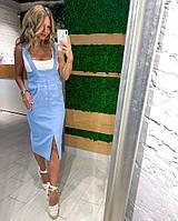 Женский стильный джинсый сарафан на бретелях, фото 1