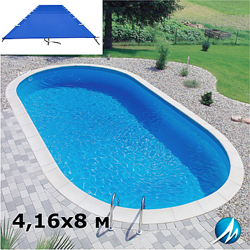 Поливиниловое накрытие для сборного овального бассейна 4,16х8 м