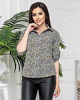 Рубашка / блуза / блузка арт. 828/1 в зеленый цветочек