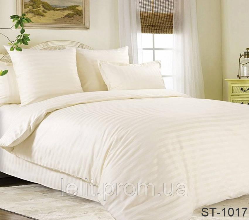 Двуспальный комплект постельного белья Страйп-Сатин LUXURY ST-1017