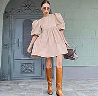 Женское стильное приталенное платье с коротким рукавом фонарик, фото 1