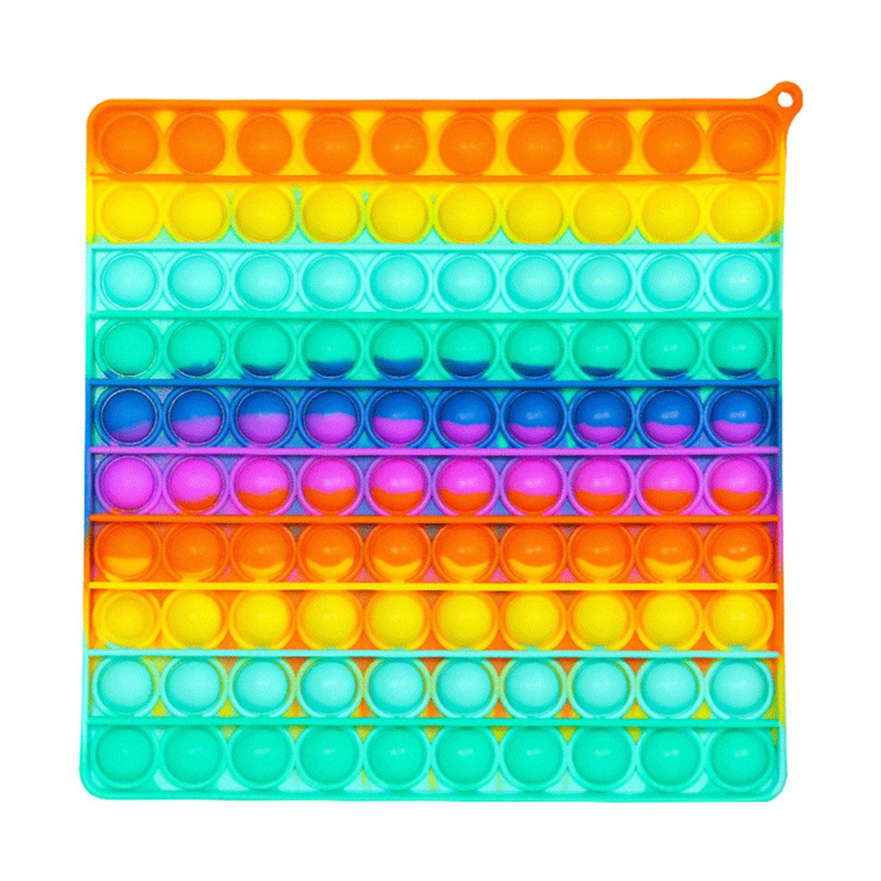 Сенсорная силиконовая игрушка пупырка антистресс поп ит фиджет квадрат большой радужный