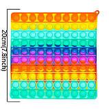 Сенсорная силиконовая игрушка пупырка антистресс поп ит фиджет квадрат большой радужный, фото 2
