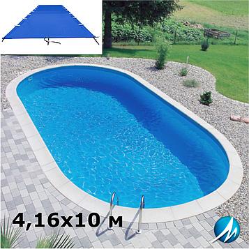 Поливиниловое накрытие для сборного овального бассейна 4,16х10 м