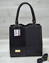 Стильная женская сумка Aliri-317-11 черная цвета с вставкой змея