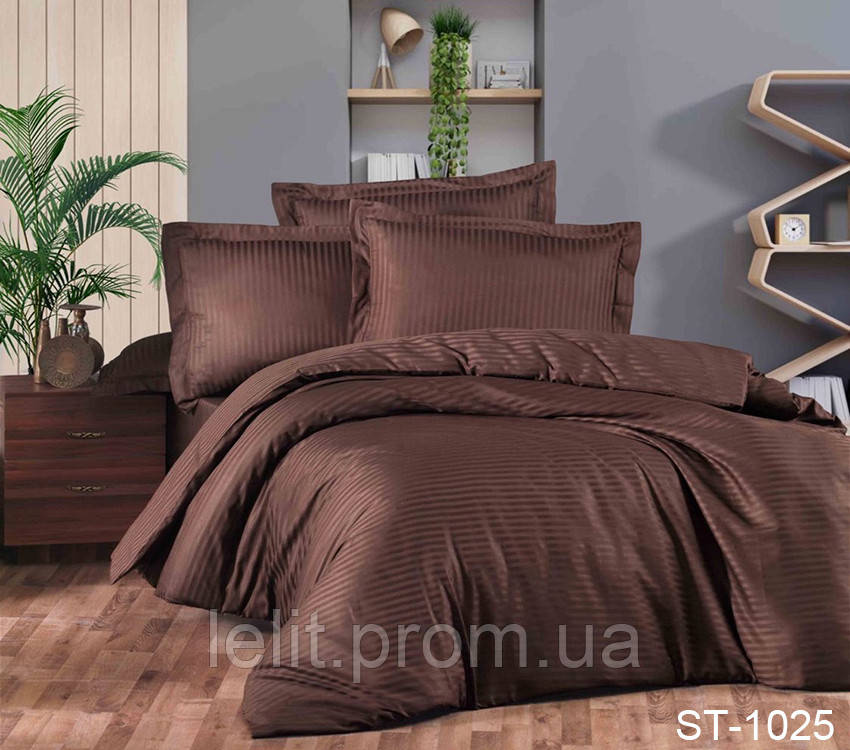 Семейный комплект постельного белья Страйп-Сатин LUXURY ST-1025