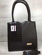 Стильная женская сумка Aliri-317-10 коричневая с вставкой под кожу крокодила