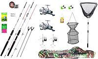 Рыболовный набор на мирную рыбу, 2 оснащенных спиннинга 2.4м + катушка cobra 640, подсак и садок
