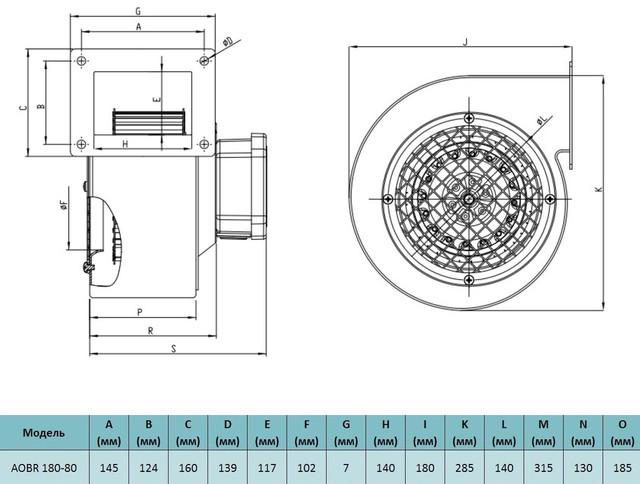 Габариты центробежного вентилятора Bahcivan AOBR 180 80. Купить в Украине.