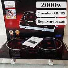 Керамічна настільна електроплита склокерамічна ( інфрачервона ) Crownberg CB-1327 2 конфорки побутова 2000W