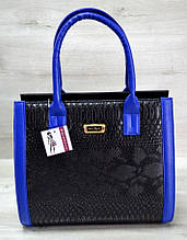 Женская сумка Aliri-316-02 черная с синим текстура под кожу змеи