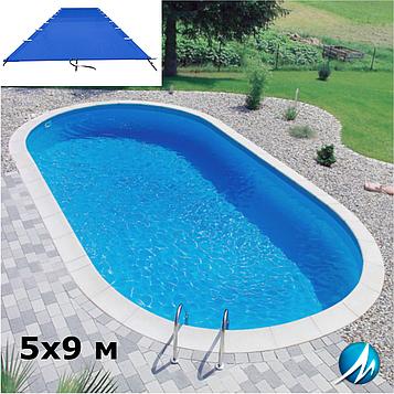 Поливиниловое накрытие для сборного овального бассейна 5х9 м