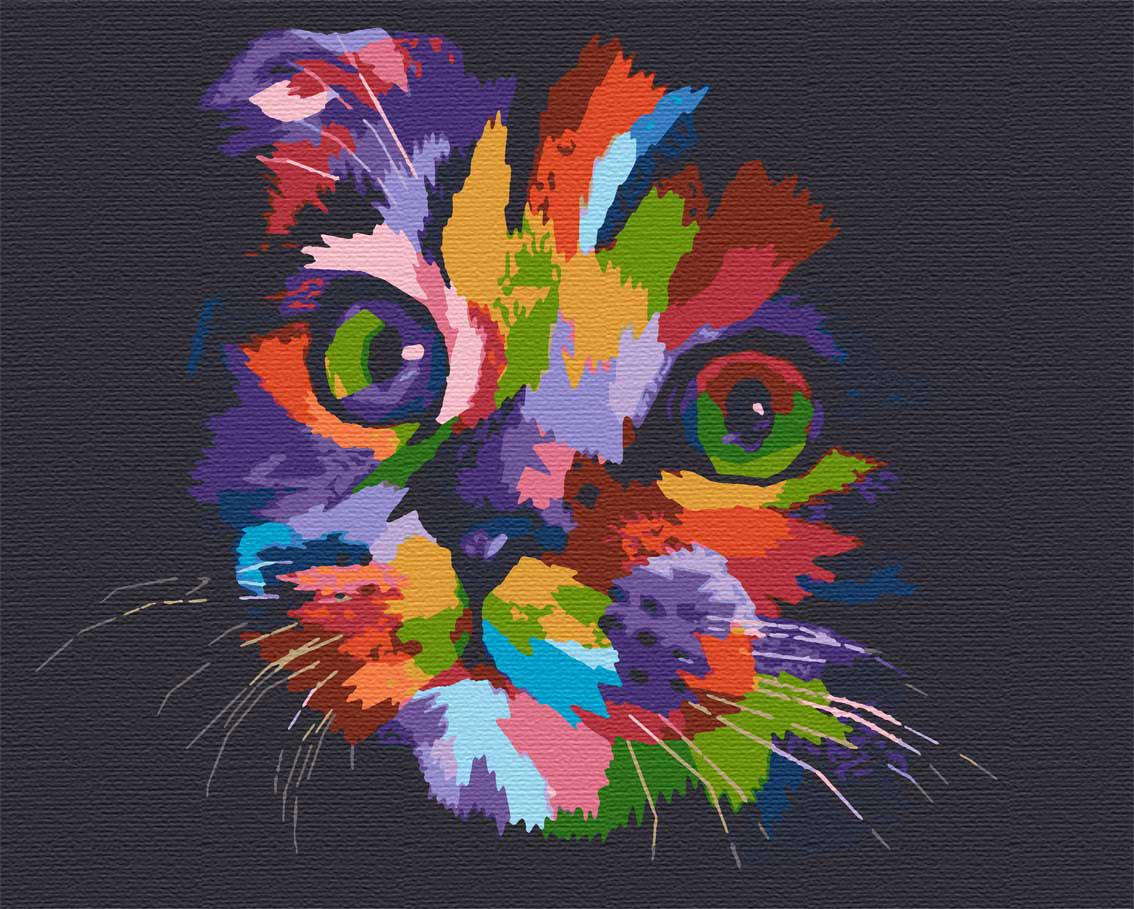 Картина по номерам животные кот 40х50 Прятки