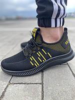 Летние мужские кроссовки сетка черные, стильные текстильные кроссы