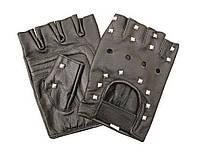 Оригинальные водительские кожаные  перчатки с заклёпками без пальцев на липучке