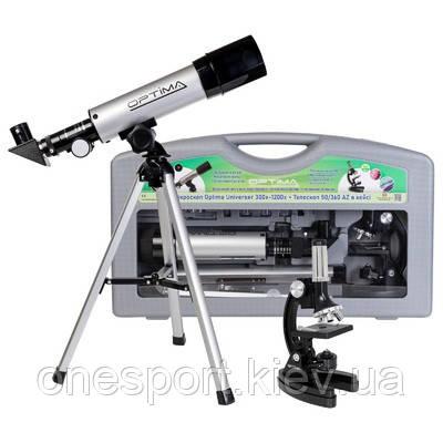 Мікроскоп Optima Universer 300x-1200x + Телескоп 50/360 AZ в кейсі (MBTR-Uni-01-103) + сертифікат на 100 грн