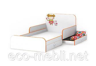 Ліжко дитяче Мандаринка з бортиками і шухлядкою