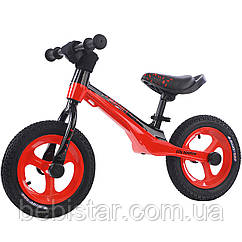 Беговел велобег детский красный Tilli Magnet на алюминиевых дисках надувные колеса детям от 2-х до 5 лет