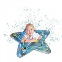 Дитячий розвиваючий водний килимок у формі зірки з водою і рибками для дітей