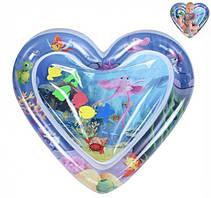Розвиваючий ігровий дитячий водний надувний килимок з рибками акваковрик серце