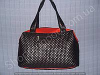 Женская сумка 013629 черная с красным стеганная ткань и кожзам