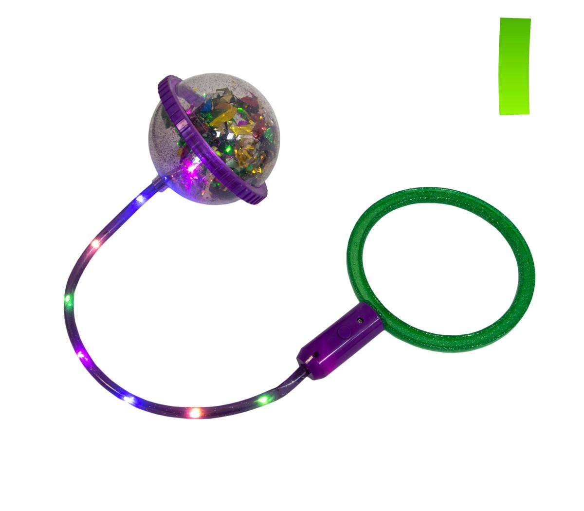 Светящаяся скакалка на одну ногу Ice Hoop (Фиолетовое кольцо и Зеленый круг №1), нейроскакалка (ST)