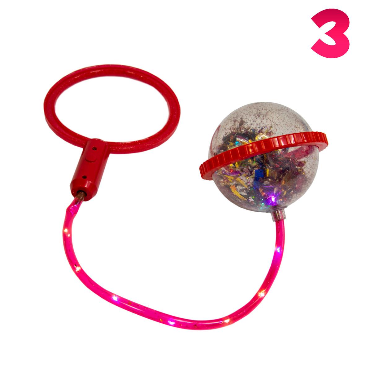 Ice Hoop скакалка з підсвіткою (Червоне кільце і Червоне коло №3), нейроскакалка на одну ногу з кулею з